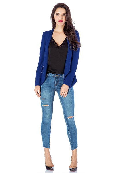 Full front view of model in royal blue draped blazer