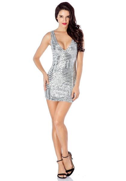 Full front view of silver sequin party dress
