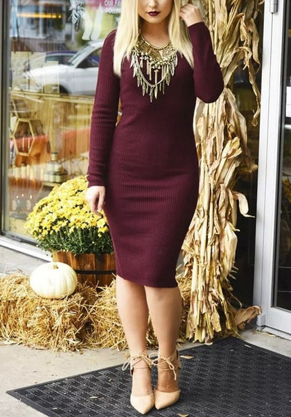 Full view of burgundy ribbed knit dress