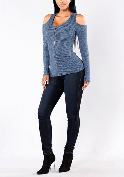 Full view of gial in grayish blue cold shoulder zip-front top