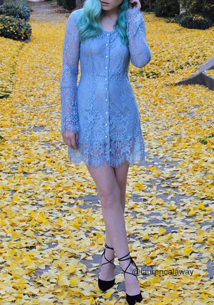 Full view of laurencalaway wearing cadet grey lace button-front dress