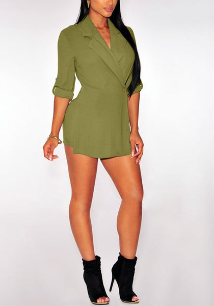 Full view of moss green suit-style chiffon romper