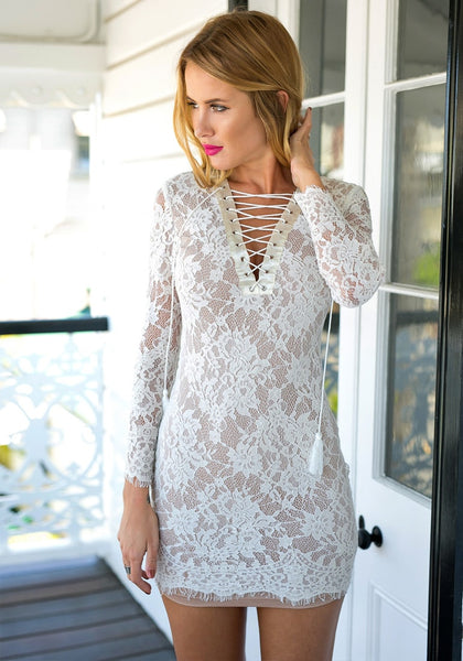 Full view of white lace-up sheath lace dress