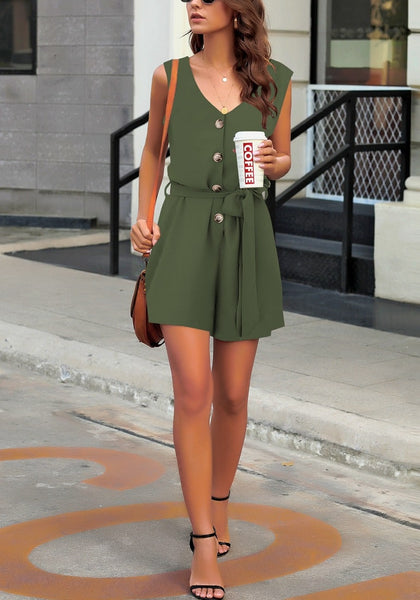 Full body shot of model in army green V-neck sleeveless belted button-up romper