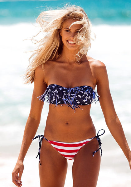Girl in Stars & Stripes Tassels Bikini