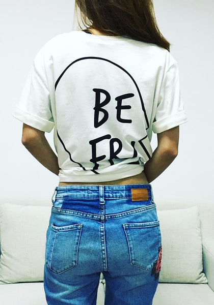 Girl in white printed bestfriend t-shirts