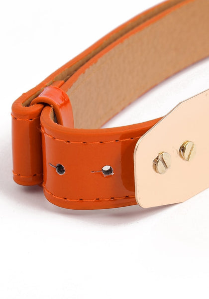 Girl's Adjustable Waist Belt - Ultra Chic Metal Plate Belt