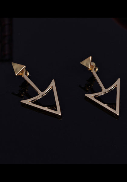 Gold triangle earrings