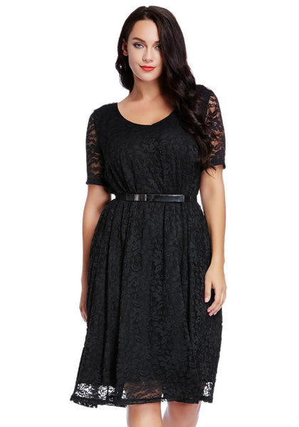 Gorgeous model in plus size black lace midi dress