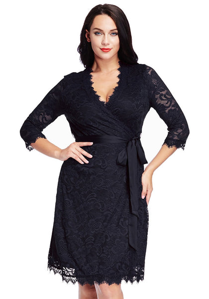 Gorgeous model in plus size navy lace crop sleeves wrap dress