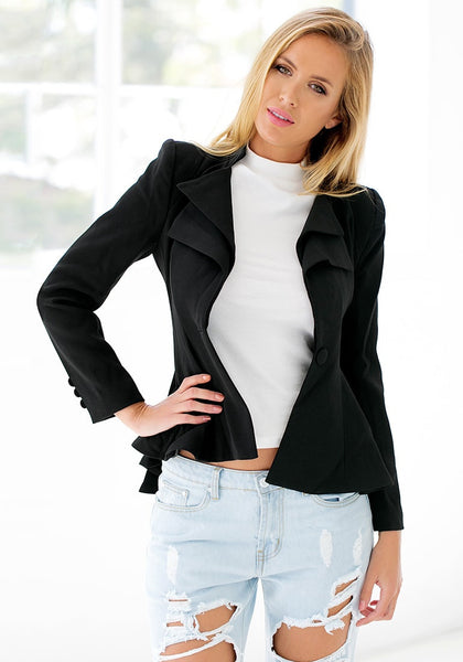 Hands on hips of model wearing double lapel fit-and-flare blazer - black