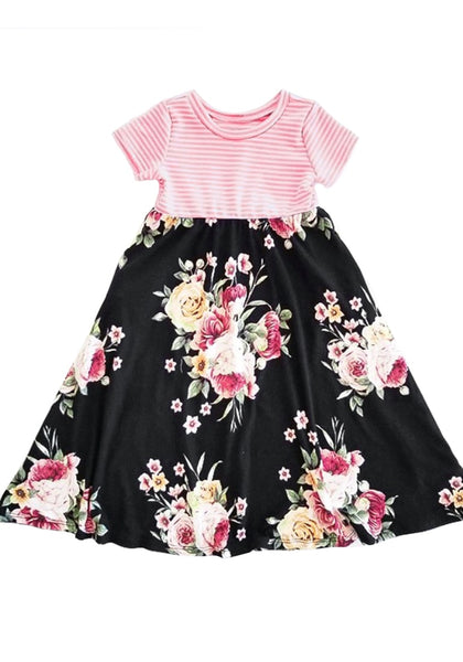 Image of black short sleeves patchwork floral girl's dress