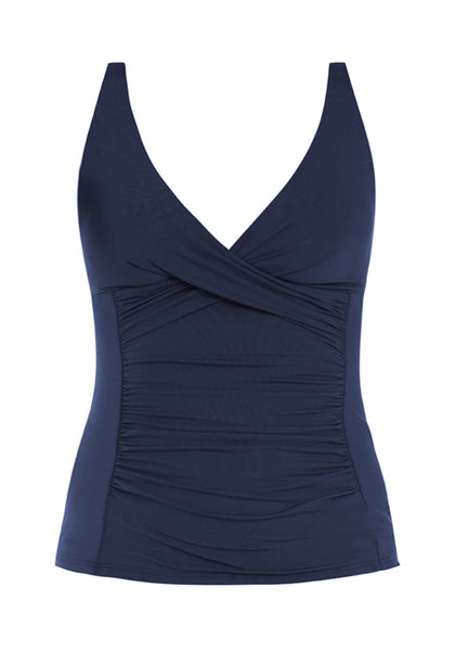 Image of navy V-neckline ruched surplice tankini set