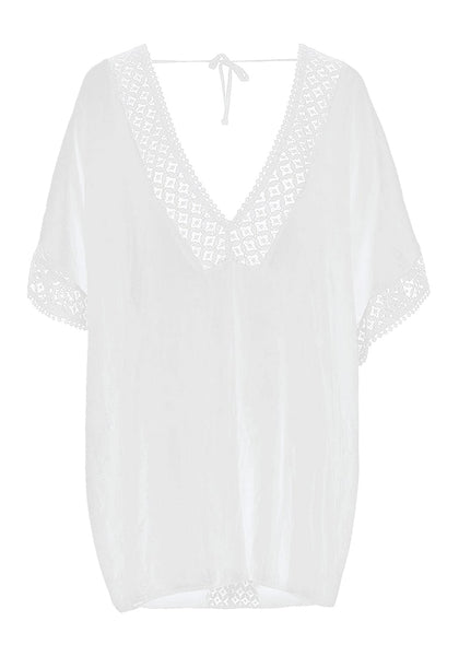 Image of white hollow out V-neck kaftan beach cover-up