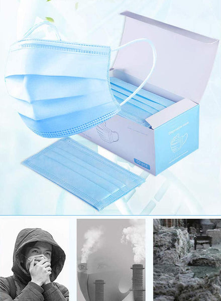Image of 10pcs. blue 3-ply disposable mask with box and keep from the ash and dust