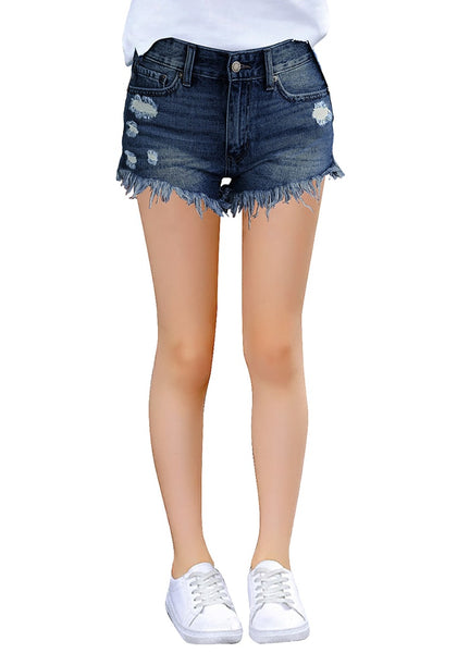 Image of model wearing blue frayed hem distressed girls' denim shorts