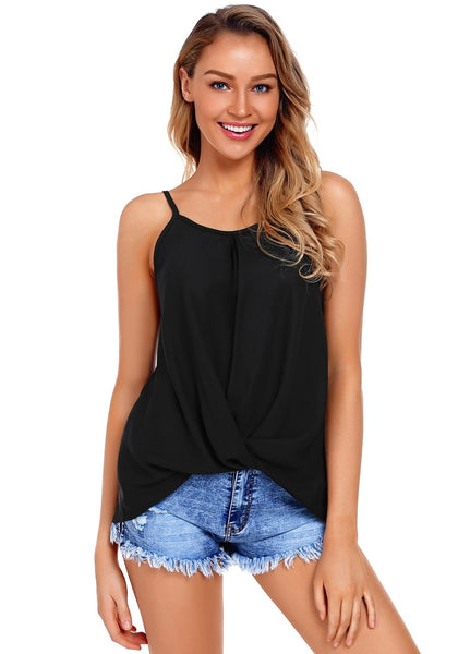 Front view of model wearing black twist knot-front asymmetrical tank top