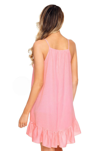 Back view of model wearing pink asymmetrical ruffle hem faux wrap tank top