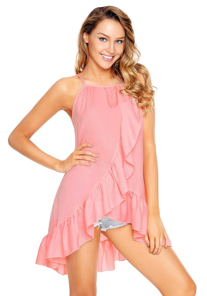 Model poses wearing pink asymmetrical ruffle hem faux wrap tank top