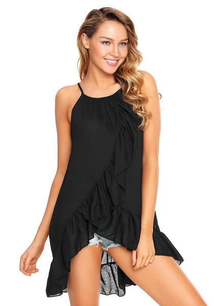 Angled shot of model wearing black asymmetrical ruffle hem faux wrap tank top