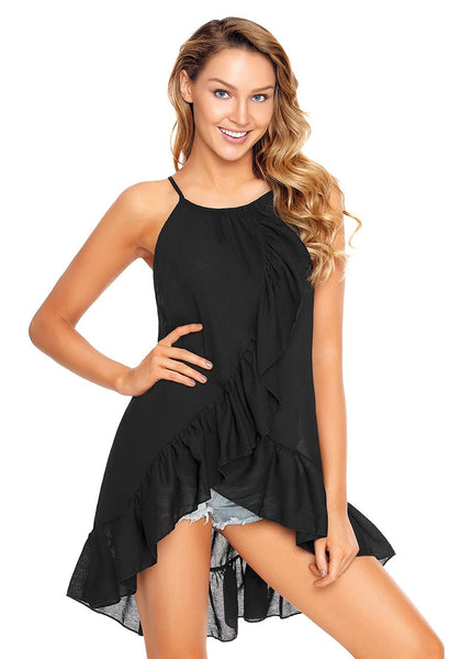 Model poses wearing black asymmetrical ruffle hem faux wrap tank top