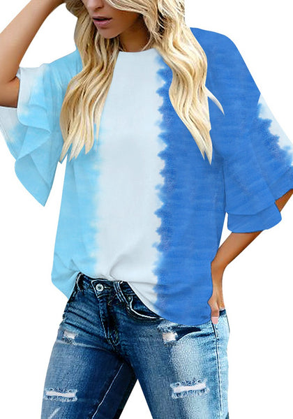 Front view of model wearing blue tie-dye trumpet sleeves keyhole-back blouse
