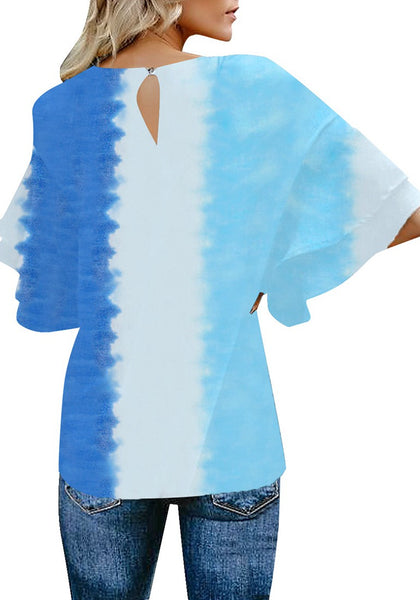 Back view of model wearing blue tie-dye trumpet sleeves keyhole-back blouse