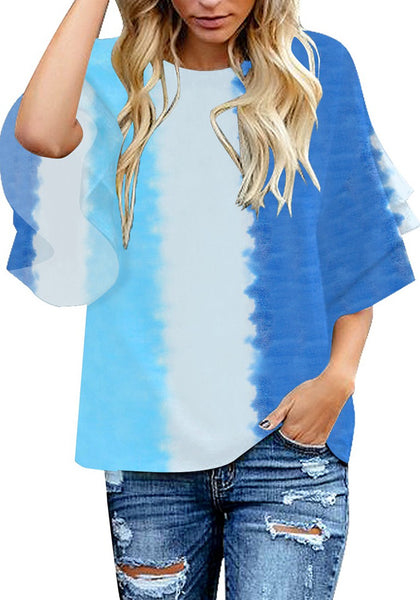 Model poses wearing blue tie-dye trumpet sleeves keyhole-back blouse