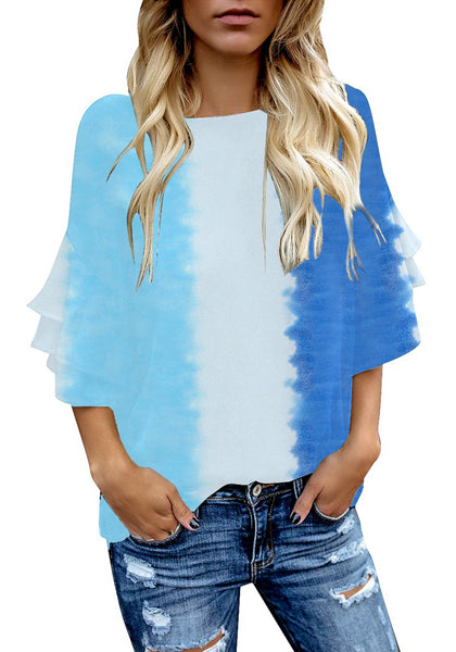 Model wearing blue tie-dye trumpet sleeves keyhole-back blouse
