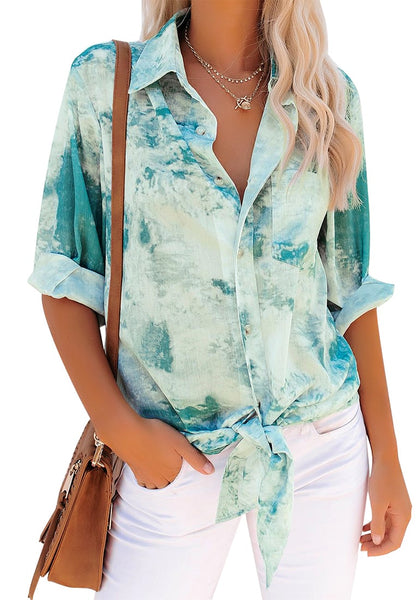 Teal Tie-Dye Button-Up Loose Tie-Front Top