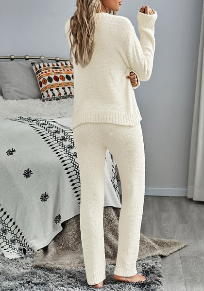 Back view of model wearing beige fuzzy knitted fleece drawstring-waist loungewear set