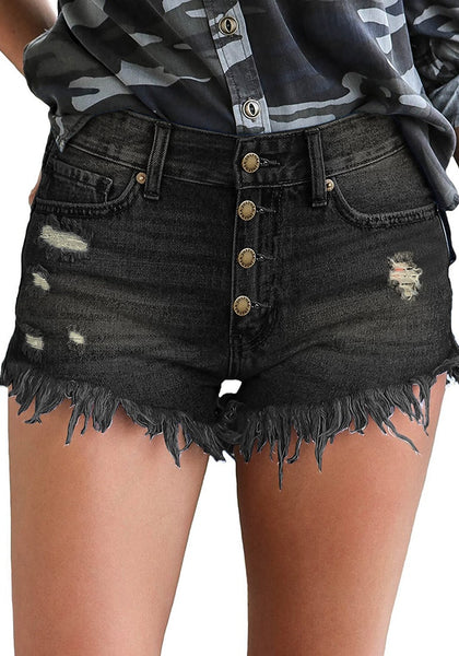 Front view of model wearing black raw hem distressed high-waist bottoms jeans shorts