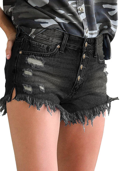 Model wearing black raw hem distressed high-waist bottoms jeans shorts