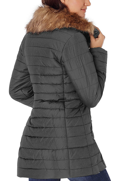 Back view of model wearing gray oversized faux fur collar zip up quilted jacket