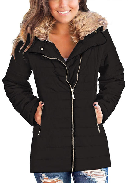 Front view of model wearing black oversized faux fur collar zip up quilted jacket