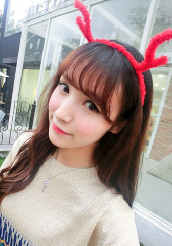 Red Plush Antler Headband