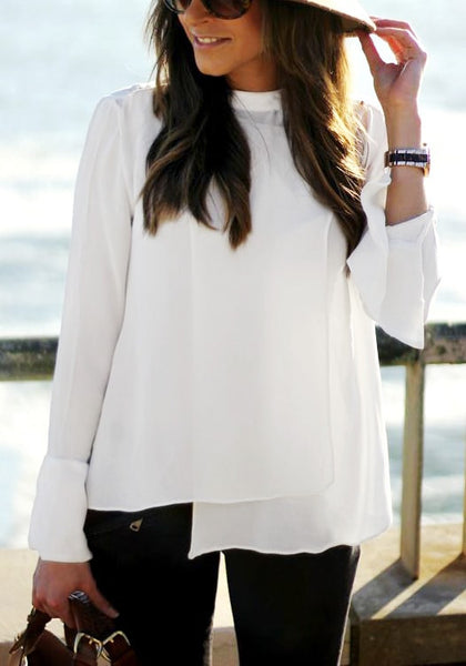 White Asymmetric Layered Chiffon Blouse