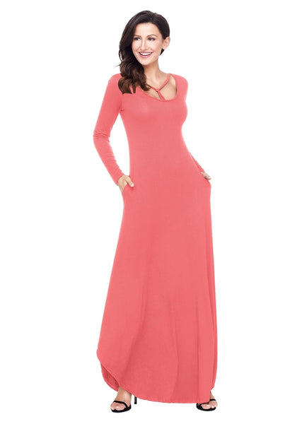 Left angled shot of model in dusty coral T-front long sleeves maxi dress