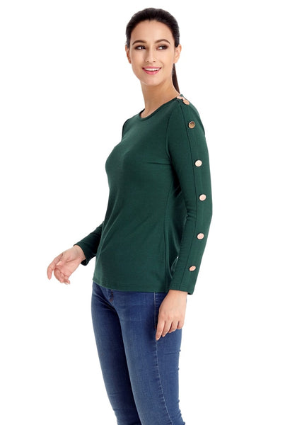 Left angled shot of model in pine green button-embellished fitted top