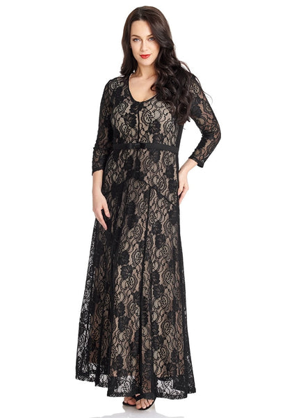 Left angled shot of model wearing black floral hollow lace maxi dress