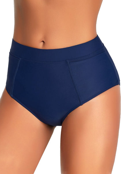 Left angled shot of model wearing navy elastic mid-waist side pockets bikini bottom