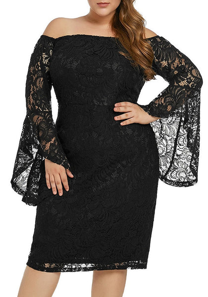 Left angled shot of model wearing plus size black trumpet sleeves lace off-shoulder pencil dress