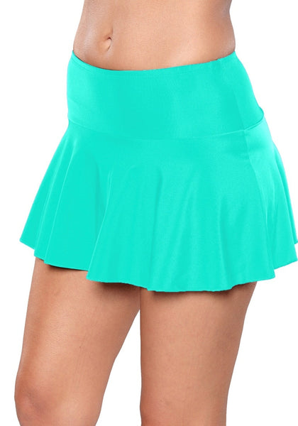 Left angled shot of model wearing solid aqua blue flared swim skirt