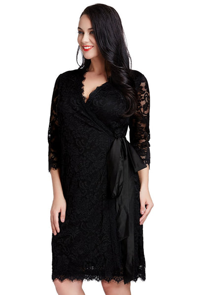 Left angled shot of woman in black lace crop sleeves wrap dress