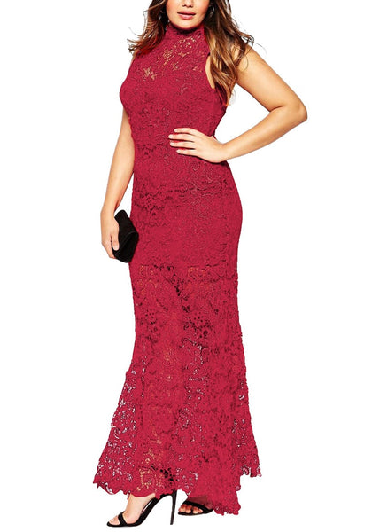 Left angled shot of woman in red lace evening dress