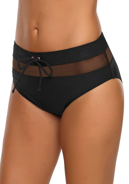 Left angled side of model wearing black mesh panel tie-front bikini bottom