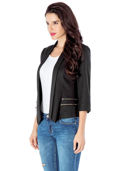 Left angled view of model in black crop sleeves lapel blazer
