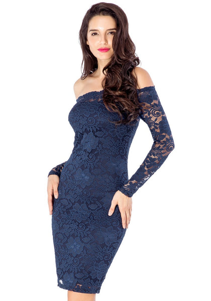 Left angled view of model wearing navy blue off-shoulder pencil dress