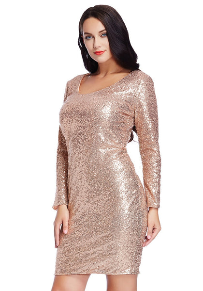 Left angled view of model wearing plus size champagne sequined party dress