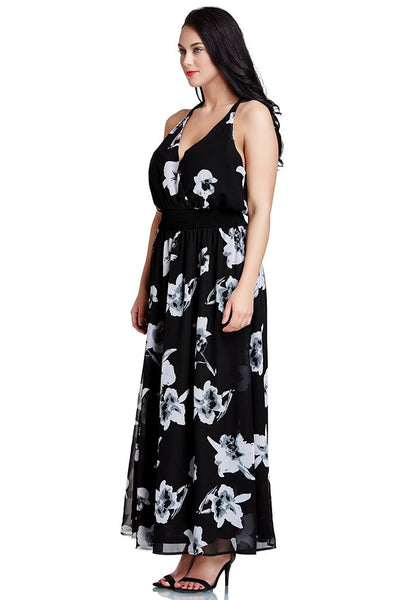 Left side shot of black floral-printed plunge maxi dress